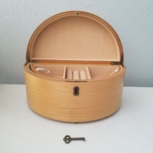 Contemporary Locking Wooden Jewelry Storage Box